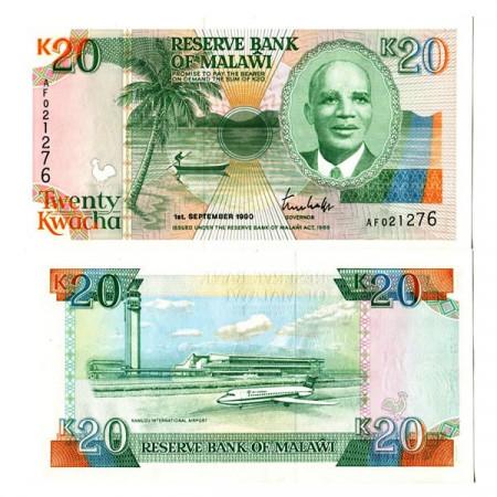 """1990 * Banknote Malawi 20 Kwacha """"President Dr. HK Banda"""" (p26) UNC"""