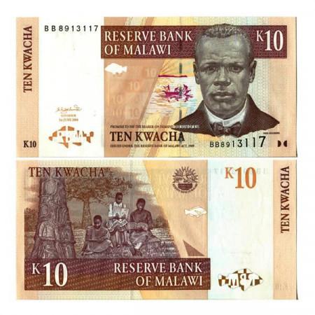 """2004 * Banknote Malawi 10 Kwacha """"J Chilembwe"""" (p43b) UNC"""