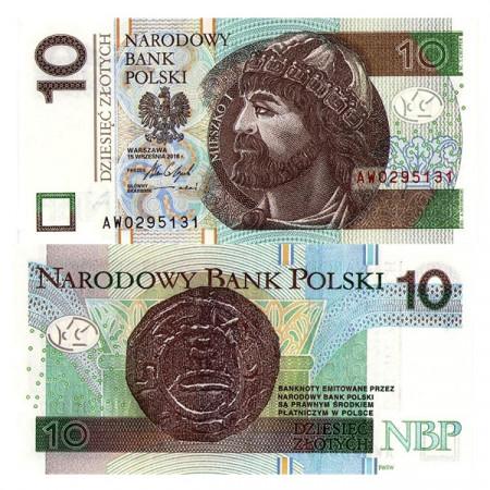 """2016 * Banknote Poland 10 Zlotych """"Duke Mieszko I"""" (p183) UNC"""