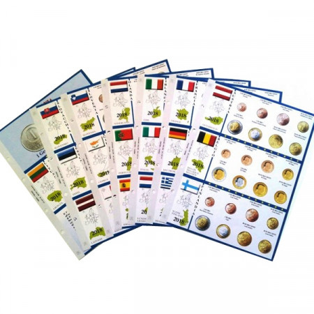 7 Sheets + Pockets for Euro Coins of 19 Countries 2018 * ABAFIL