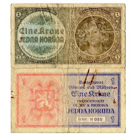 "ND (1940) * Banknote Bohemia and Moravia 1 Koruna ""Young Girl"" (p3a) F"