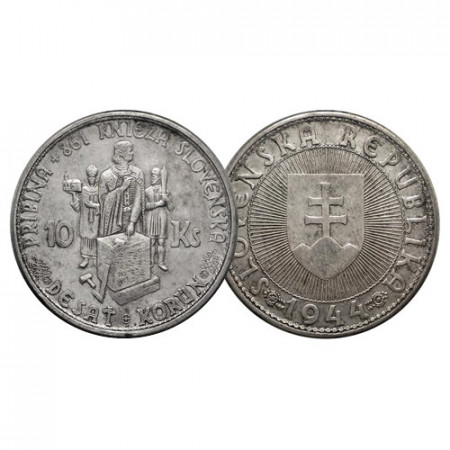 "1944 * 10 Korun Silver Slovakia ""Pribina"" (p9.1) VF+"