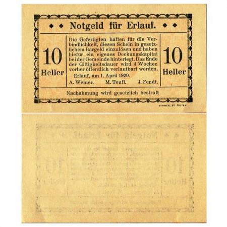 """1920 * Notgeld Austria 10 Heller """"Lower Austria – Erlauf"""""""
