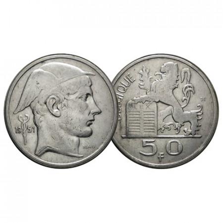 "1951 * 50 Francs (50 Frank) Silver Belgium ""Helmeted Head"" (KM 136.1) VF+"