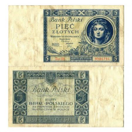 "1930 * Banknote Poland 5 Zlotych ""Girl"" (p72) VF"