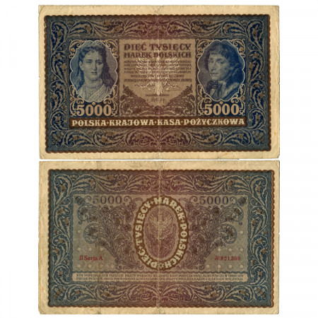 """1920 * Banknote Poland 5000 Marek """"Q Jadwiga - T Kosciuszko"""" (p31) aVF"""