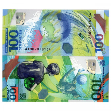 "2018 * Banknote Polymer Russia 100 Rubles ""Soccer World Cup 2018"" (pNew) UNC"