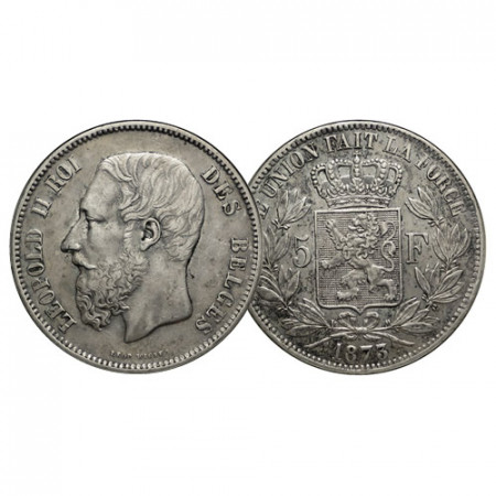 "1873 * 5 Francs Silver Belgium ""Leopold II"" Type A (KM 24) XF"