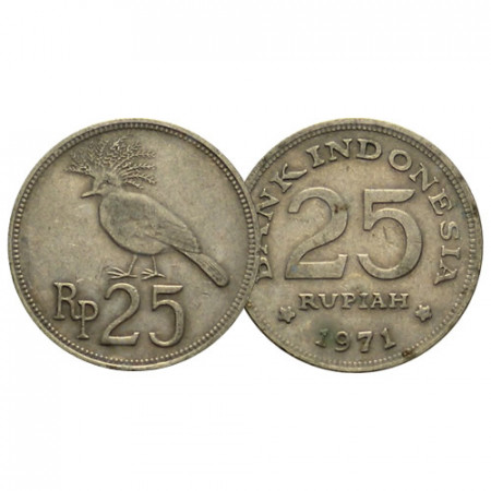 """1971 * 25 Rupiah Indonesia """"Victoria Crowned Pigeon"""" (KM 37) VF"""