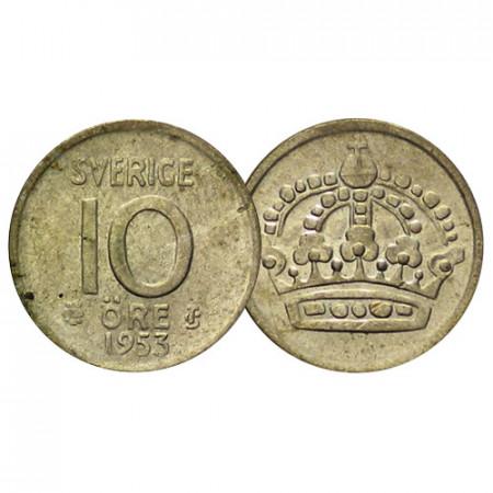 "1952-62 * 10 Ore Silver Sweden ""Gustaf VI Adolf - Large Crown"" (KM 823) F/VF"