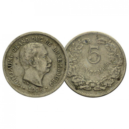 """1908 * 5 Centimes Luxembourg """"William IV"""" (KM 26) F"""
