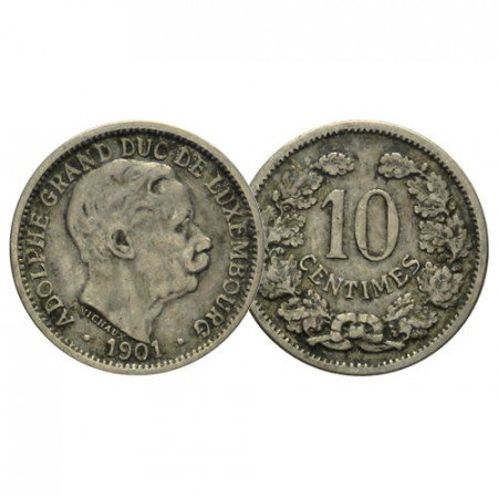 """1901 * 10 Centimes Luxembourg """"Adolphe"""" (KM 25) F+"""