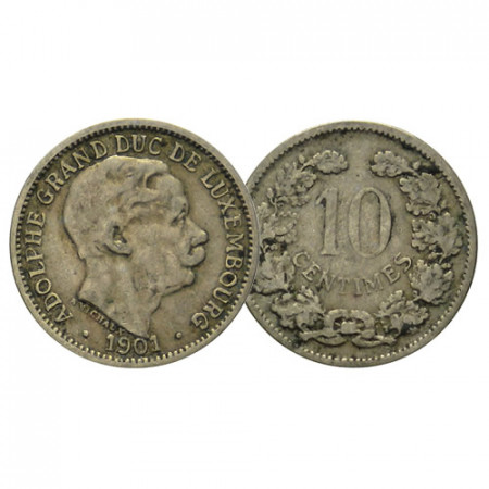 """1901 * 10 Centimes Luxembourg """"Adolphe"""" (KM 25) F"""