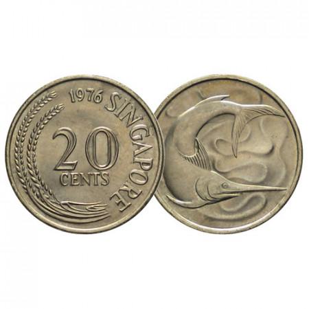 """1976 * 20 Cents Singapore """"Swordfish"""" (KM 4) UNC"""