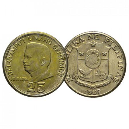 """1967 * 25 Sentimos Philippines """"Juan Luna"""" (KM 199) UNC"""