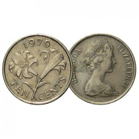 "1970-85 * 10 Cents Bermuda ""Lily Flower - 2nd Portrait"" (KM 17) F/VF"