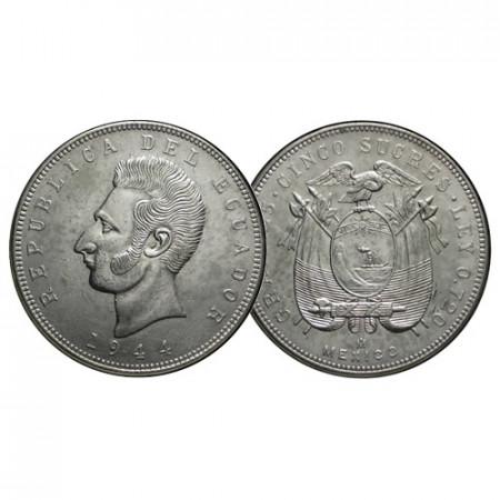 """1944 Mo * 5 Sucres Silver Ecuador """"A José de Sucre"""" (KM 79) XF+"""