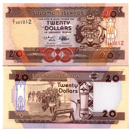 """ND (1996) * Banknote Solomon Islands 20 Dollars """"Warriors"""" (p21) UNC"""