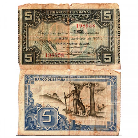 """1937 * Banknote Spain 5 Pesetas """"Banco de Bilbao"""" (pS561) F"""