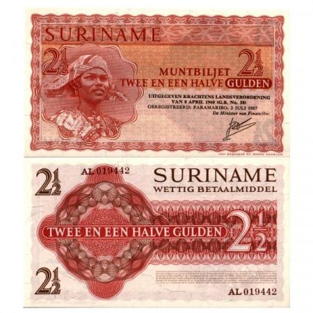 """1967 * Banknote Suriname 2½ Gulden """"Muntbiljet"""" (p117b) UNC"""