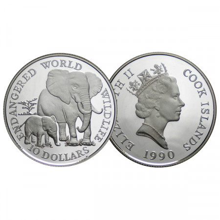 """1990 * 10 Dollars Silver Cook Islands """"WWF - African Elephant"""" (KM 80) PROOF"""