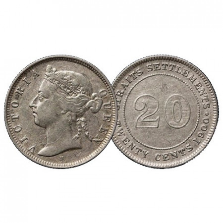 """1900 H * 20 Cents Silver Malaysia - Straits Settlements """"Queen Victoria"""" (KM 12) VF"""