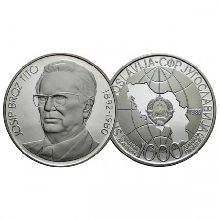"""1980 * 1000 Dinara Silver Yugoslavia """"Death of Joseph Tito"""" (KM 78a) PROOF"""