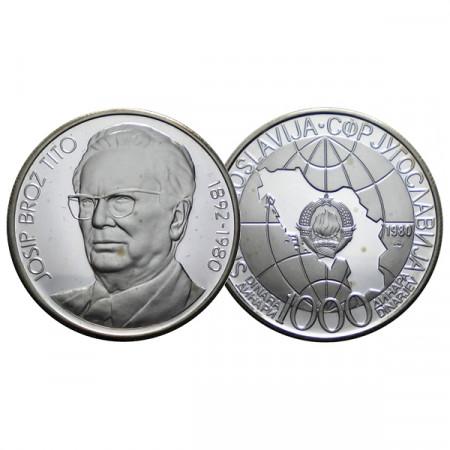 """1980 ZM * 1000 Dinara Silver Yugoslavia """"Death of Joseph Tito"""" (KM 78a) PROOF"""