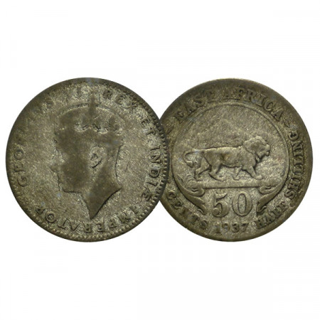 """1937 H * 50 Cents - 1/2 Shilling British East Africa """"George VI"""" (KM 37) F"""