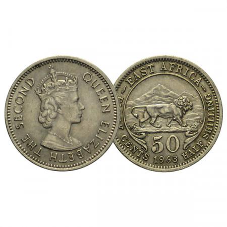 "1963 * 50 Cents - 1/2 Shilling British East Africa ""Elizabeth II"" (KM 36) XF+"