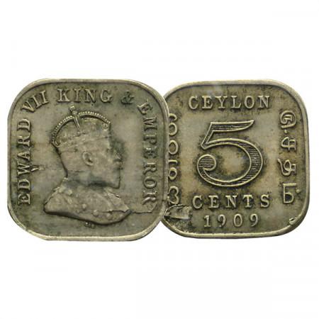 """1909 * 5 Cents Ceylon """"Edward VII"""" (KM 103) VF"""