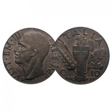 "1943 XXI * 10 Centesimi Copper Italy Kingdom ""Victor Emmanuel III - Impero II°"" (KM 74) XF"