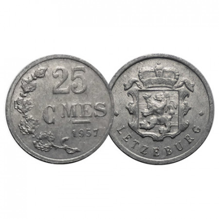 """1957 * 25 Centimes Luxembourg """"Charlotte"""" (KM 45a.1) VF+"""