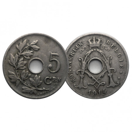 "1914 * 5 Centimes Belgium ""Albert I"" (KM 67) VF"
