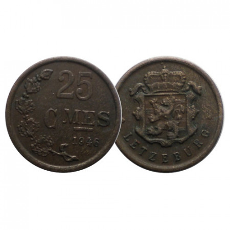 "1946 * 25 Centimes Luxembourg ""Charlotte"" (KM 45) VF"