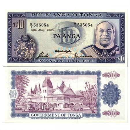 "1988 * Banknote Tonga 10 Pa'anga ""King Tupou IV"" (p22c) UNC"