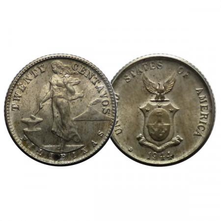 "1944 D * 20 Centavos Silver Philippines ""U.S. Administration"" (KM 182) UNC"