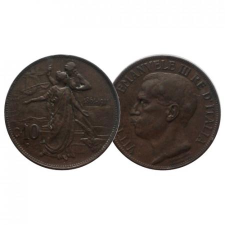 """1911 R * 10 Centesimi Italy Kingdom """"Victor Emmanuel III - Cinquantenario"""" (KM 51) VF"""
