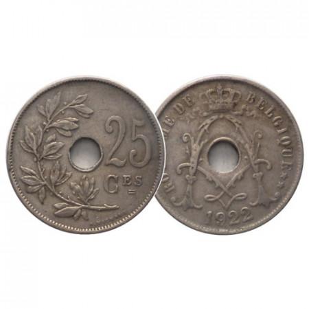 "1922 * 25 Centimes Belgium ""Albert I"" (KM 68) VF"