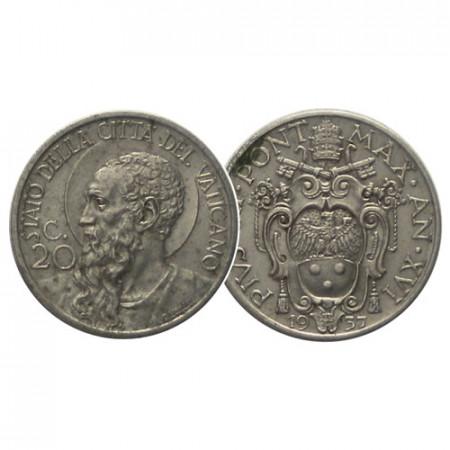 "1937 * 20 Centesimi Vatican Pius XI ""St. Paul"" (KM 3) VF"