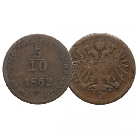 "1862 B * 5/10 (1/2) Soldo Austria ""Franz Joseph I - Lombardy–Venetia, Kremnitz"" (C34.1) F"