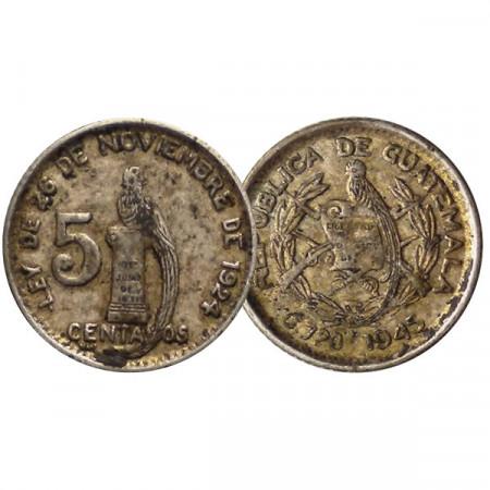 "1945 * 5 Centavos Silver Guatemala ""Quetzal on Column"" (KM 238.1) VF"