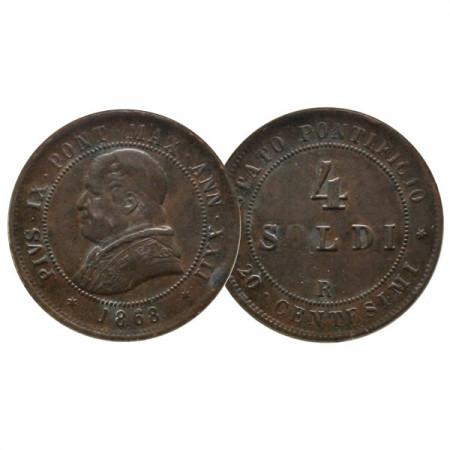 """1868 R XXII * 4 Soldi (20 Centesimi) Papal State Pius """"Pius IX"""" (KM 1374) VF"""