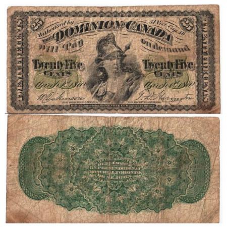 """1870 * Banknote Canada 25 Cents """"Britannia"""" (p8a) F"""
