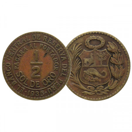 "1935 * 1/2 Sol de Oro Peru ""National Emblem"" (KM 220.1) VF"