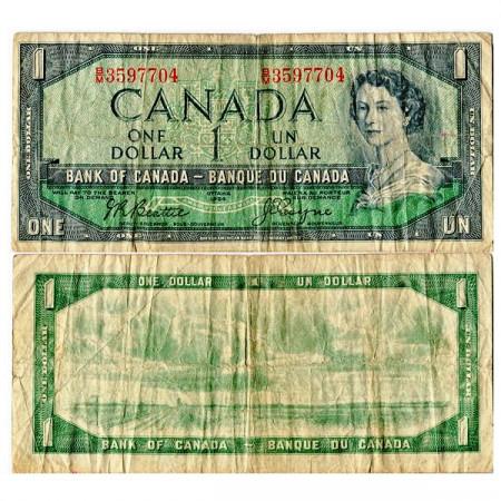"""1954 (1955-61) * Banknote Canada 1 Dollar """"Elizabeth II"""" (p75a) F"""