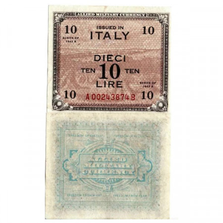 """1943 A * Banknote Italy 10 AM Lire """"Allied Military Currency"""" Bilingual A.1154 (pM19b) XF"""