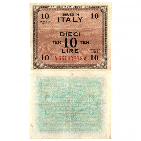 "1943 A * Banknote Italy 10 AM Lire ""Allied Military Currency"" Bilingual A.1153 (pM19a) VF+"