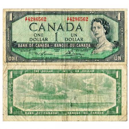 """1954 (1973-74) * Banknote Canada 1 Dollar """"Elizabeth II"""" (p75d) F"""