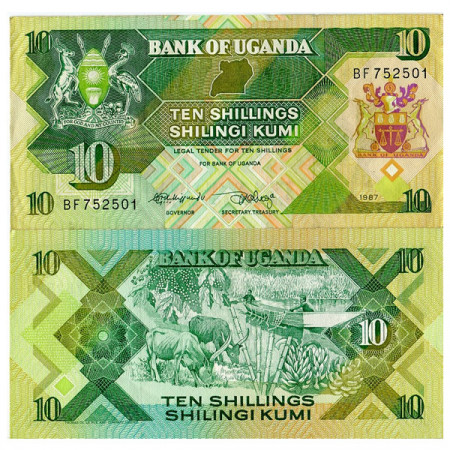 "1987 * Banknote Uganda 10 Shillings ""Wildlife"" (p28) UNC"